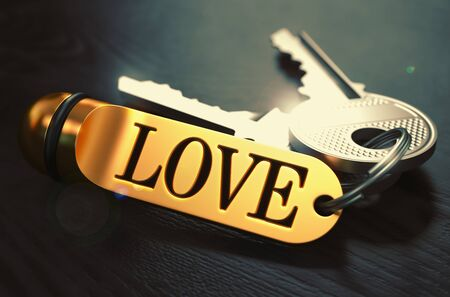 beguin: Love - Bunch of Keys with Text on Golden Key chain.