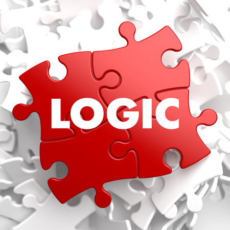 logically: Logic on Red Puzzle on White Background.