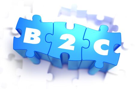 b2c: B2C - Business to Consumer - White Word on Blue Puzzles on White Background.