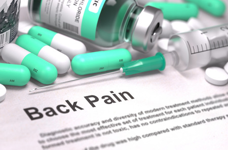herniated: Back Pain - Printed with Mint Green Pills, Injections and Syringe