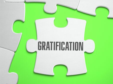 gratification: Gratification - Jigsaw Puzzle with Missing Pieces. Bright Green Background. Close-up. 3d Illustration.