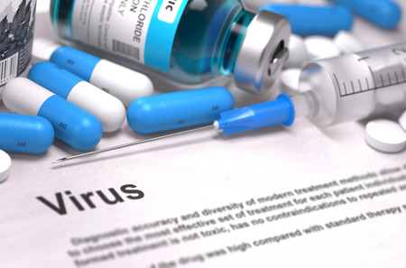 taint: Virus - Printed Diagnosis with Blue Pills, Injections and Syringe. Medical Concept with Selective Focus. Stock Photo
