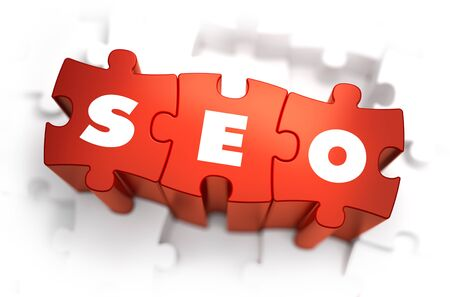metasearch: SEO - Search Engine Optimization - Text on Red Puzzles with White Background. 3D Render.