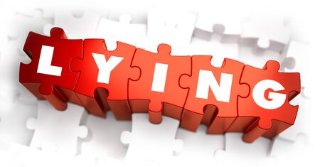 lazybones: Lying - Text on Red Puzzles with White Background. 3D Render.