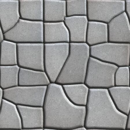 tileable: Gray Figured Paving Slabs of Different Value which Imitates Natural Stone. Seamless Tileable Texture.