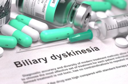 excretion: Diagnosis - Biliary Dyskinesia. Stock Photo