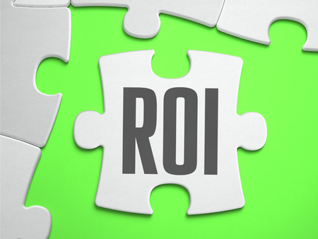 coefficient: ROI - Return on Investment - Jigsaw Puzzle with Missing Pieces.