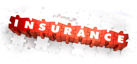 compensation: Insurance - Text on Red Puzzles with White Background.  Stock Photo