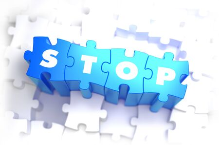 discontinue: Stop - White Word on Blue Puzzles on White Background.