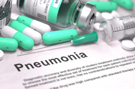 pneumonia: Pneumonia - Printed Diagnosis with Blurred Text. Stock Photo