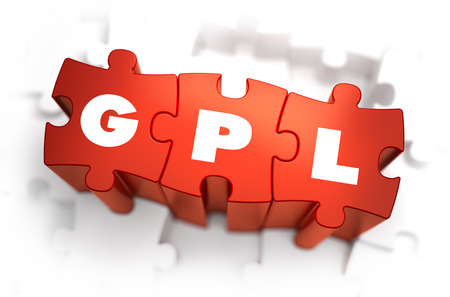 general: GPL- General Public License - Text on Red Puzzles with White Background.