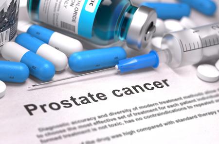 a diagnosis: Diagnosis - Prostate Cancer.  Stock Photo