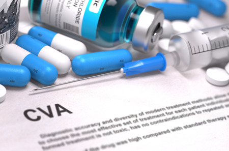 cva: CVA - Cerebrovascular Accident - Printed Diagnosis with Blurred Text. On Background of Medicaments Composition - Blue Pills, Injections and Syringe.