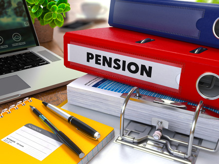 subsidize: Red Ring Binder with Inscription Pension on Background of Working Table with Office Supplies, Laptop, Reports. Toned Illustration. Business Concept on Blurred Background.
