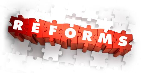 enhancement: Reforms - White Word on Red Puzzles on White Background. 3D Render.