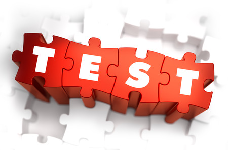 decomposition: Test - White Word on Red Puzzles on White Background. 3D Illustration.