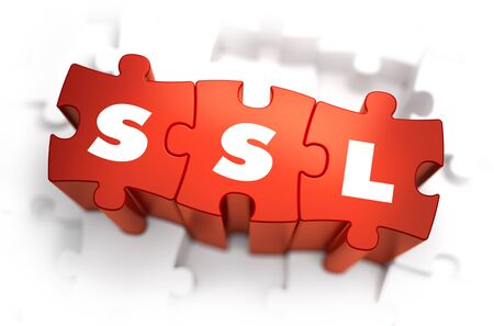 sockets: SSL - Secure Sockets Layer - Text on Red Puzzles with White Background. 3D Render.