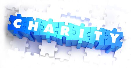 Charity -  Word on Blue Puzzles on White Background. 3D Render. Stock Photo