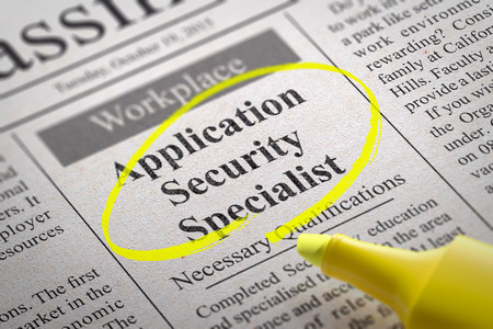 misconduct: Application Security Specialist Vacancy in Newspaper. Job Search Concept.
