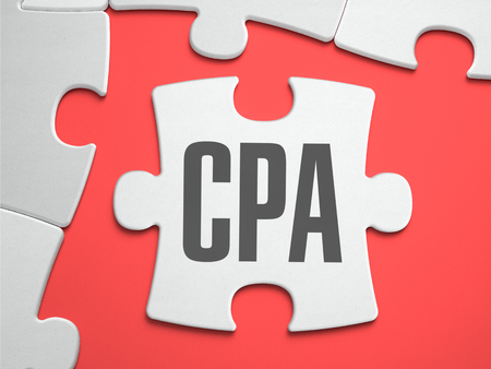 cpa: CPA - Cost Per Action - Text on Puzzle on the Place of Missing Pieces. Scarlett Background. Close-up. 3d Illustration.