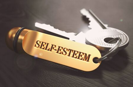 nobleness: Self-Esteem - Bunch of Keys with Text on Golden Keychain. Black Wooden Background. Closeup View with Selective Focus. 3D Illustration. Toned Image.