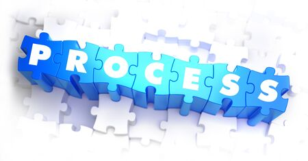 implement: Process - Text on Blue Puzzles on White Background. 3D Render.