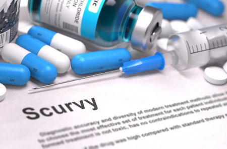 scurvy: Diagnosis - Scurvy. Medical Concept with Blue Pills, Injections and Syringe. Selective Focus. Blurred Background. Stock Photo