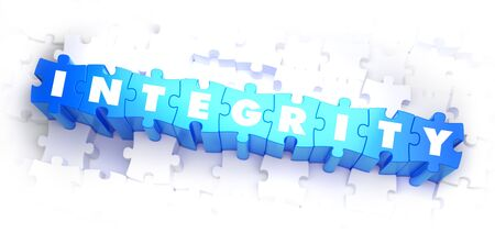 sanctity: Integrit� - Bianco Word su Blue Puzzle su sfondo bianco. Illustrazione 3D.