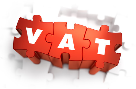 VAT - Value Added Tax - White Word on Red Puzzles on White Background. 3D Illustration. Stok Fotoğraf - 43876344
