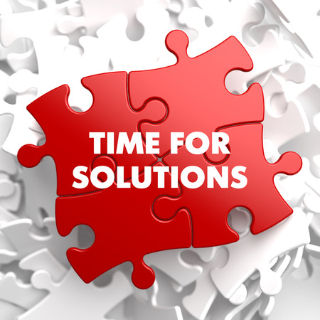 presently: Time For Solutions on Red Puzzle on White Background.