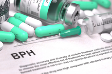 benign: BPH - Benign Prostatic Hyperplasia - Printed Diagnosis with Mint Green Pills, Injections and Syringe. Medical Concept with Selective Focus.