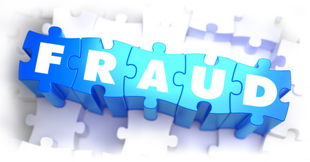 Fraud - White Word on Blue Puzzles on White Background. 3D Illustration. Stock Photo