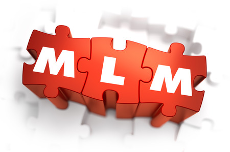 mlm: MLM - Multi Level Marketing - White Word on Red Puzzles on White Background. 3D Render.