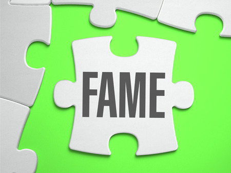 prevalence: Fame - Jigsaw Puzzle with Missing Pieces. Bright Green Background. Close-up. 3d Illustration. Stock Photo