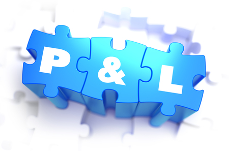 total loss: Profit and Loss - White Text on Blue Puzzles and Selective Focus. 3D Render.