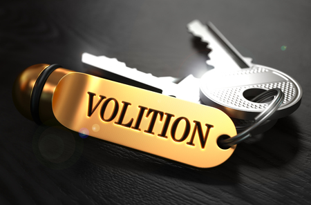 volition: Volition Concept. Keys with Golden Keyring on Black Wooden Table. Closeup View, Selective Focus, 3D Render.