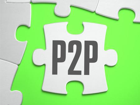 peer to peer: P2P - Peer to Peer - rompecabezas con piezas que faltan. Fondo verde brillante. De cerca. Ilustración 3d.