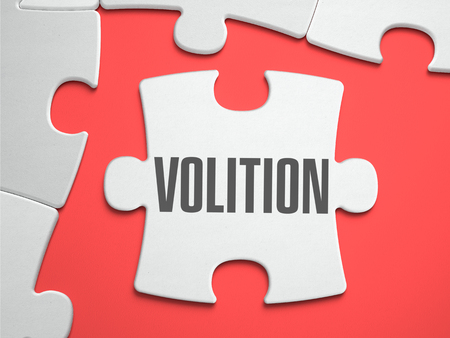volition: Volition - Text on Puzzle on the Place of Missing Pieces. Scarlett Background. Close-up. 3d Illustration.