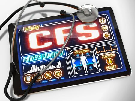 stethoscope isolated on white background: CFS - Chronic Fatigue Syndrome - Diagnosis on the Display of Medical Tablet and a Black Stethoscope on White Background. Stock Photo