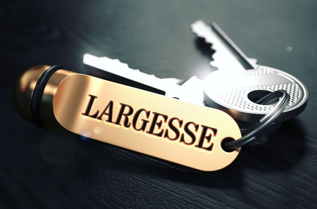 largesse: Largesse Concept. Keys with Golden Keyring on Black Wooden Table. Closeup View, Selective Focus, 3D Render. Toned Image.