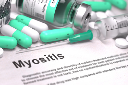 myopathy: Diagnosis - Myositis. Medical Report with Composition of Medicaments - Light Green Pills, Injections and Syringe. Blurred Background with Selective Focus.