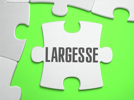 largesse: Largesse - Jigsaw Puzzle with Missing Pieces. Bright Green Background. Close-up. 3d Illustration. Stock Photo