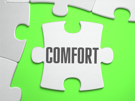 comfortableness: Comfort - Jigsaw Puzzle with Missing Pieces. Bright Green Background. Close-up. 3d Illustration.