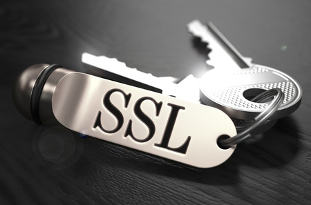 SSL - Secure Socket Layer - Concept. Keys with Keyring on Black Wooden Table. Closeup View, Selective Focus, 3D Render. Black and White Image.