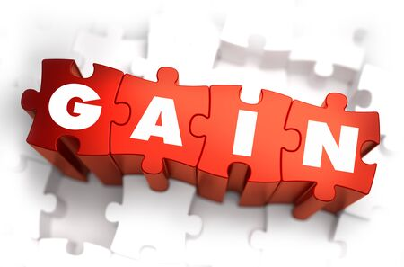 gain: Gain - Text on Red Puzzles with White Background. 3D Render.
