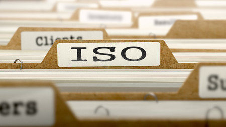 standardization: ISO - International Organization Standardization- Concept. Word on Folder Register of Card Index. Selective Focus.