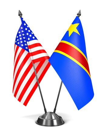 totalitarianism: USA and Democratic Republic Congo - Miniature Flags Isolated on White Background. Stock Photo