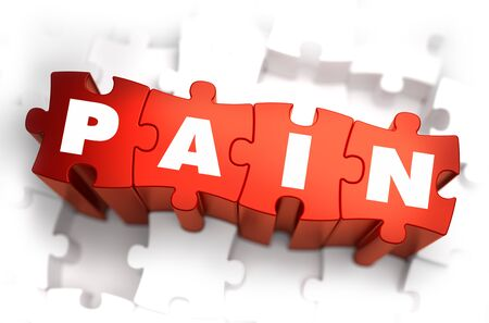 miserable: Pain - White Word on Red Puzzles on White Background. 3D Render.