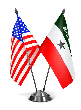 somalian culture: USA and Somaliland - Miniature Flags Isolated on White Background.
