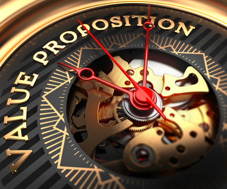 proposition: Value Proposition on Black-Golden Watch Face with Closeup View of Watch Mechanism.